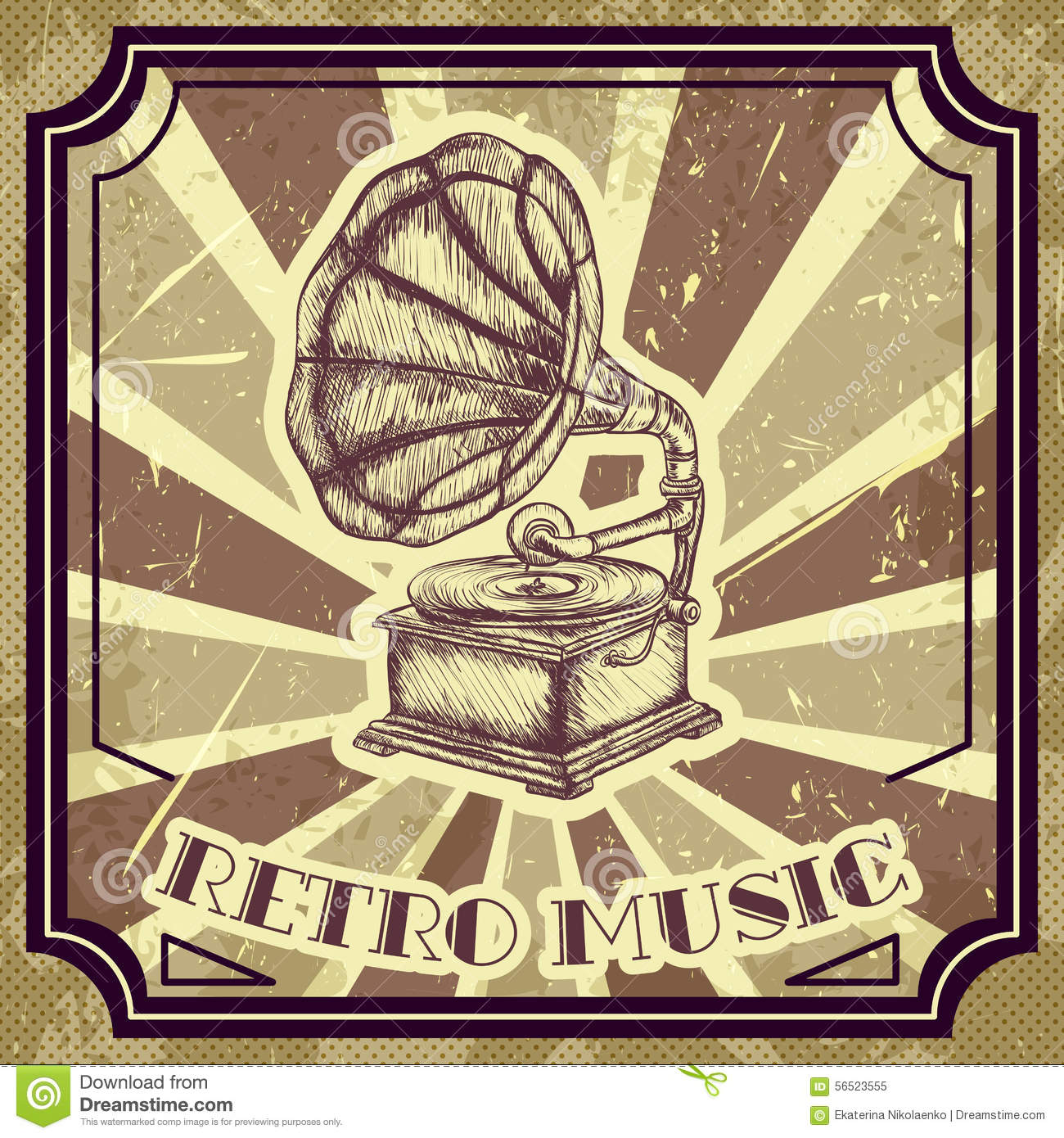 Classic Retro Illustration: Poster With Vintage Gramophone. Retro Hand Drawn Vector