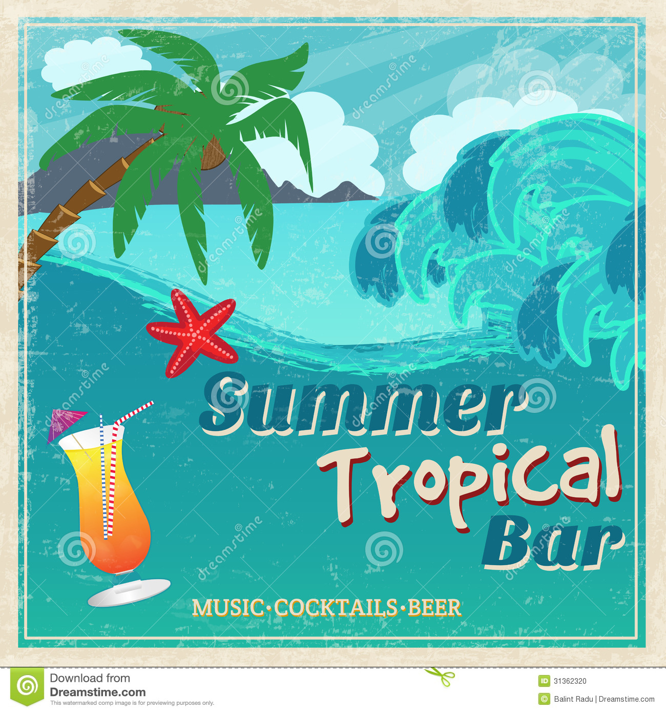 Vector Vintage Pop Art Beach Holiday Illustration Stock: Poster Of Vintage Seaside Tropical Bar Stock Vector