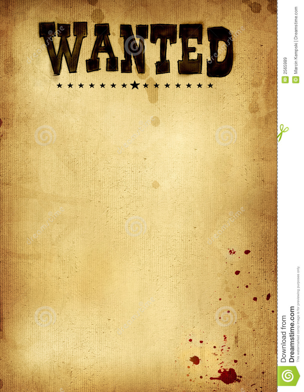Poster wanted stock image image of blank poster for Wanted dead or alive poster template free