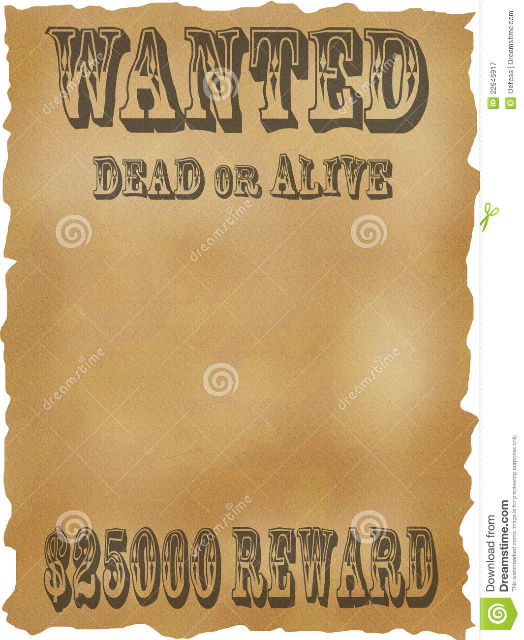 Poster Wanted Dead Or Alive Royalty Free Stock