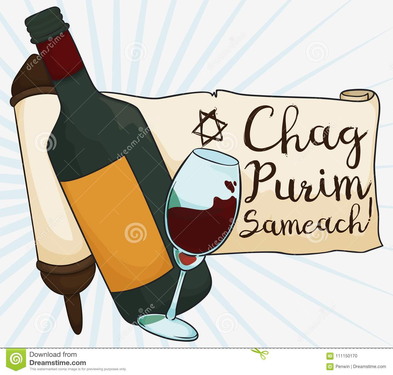 Greetings In Scroll With Wine Glass And Bottle For Purim Vector