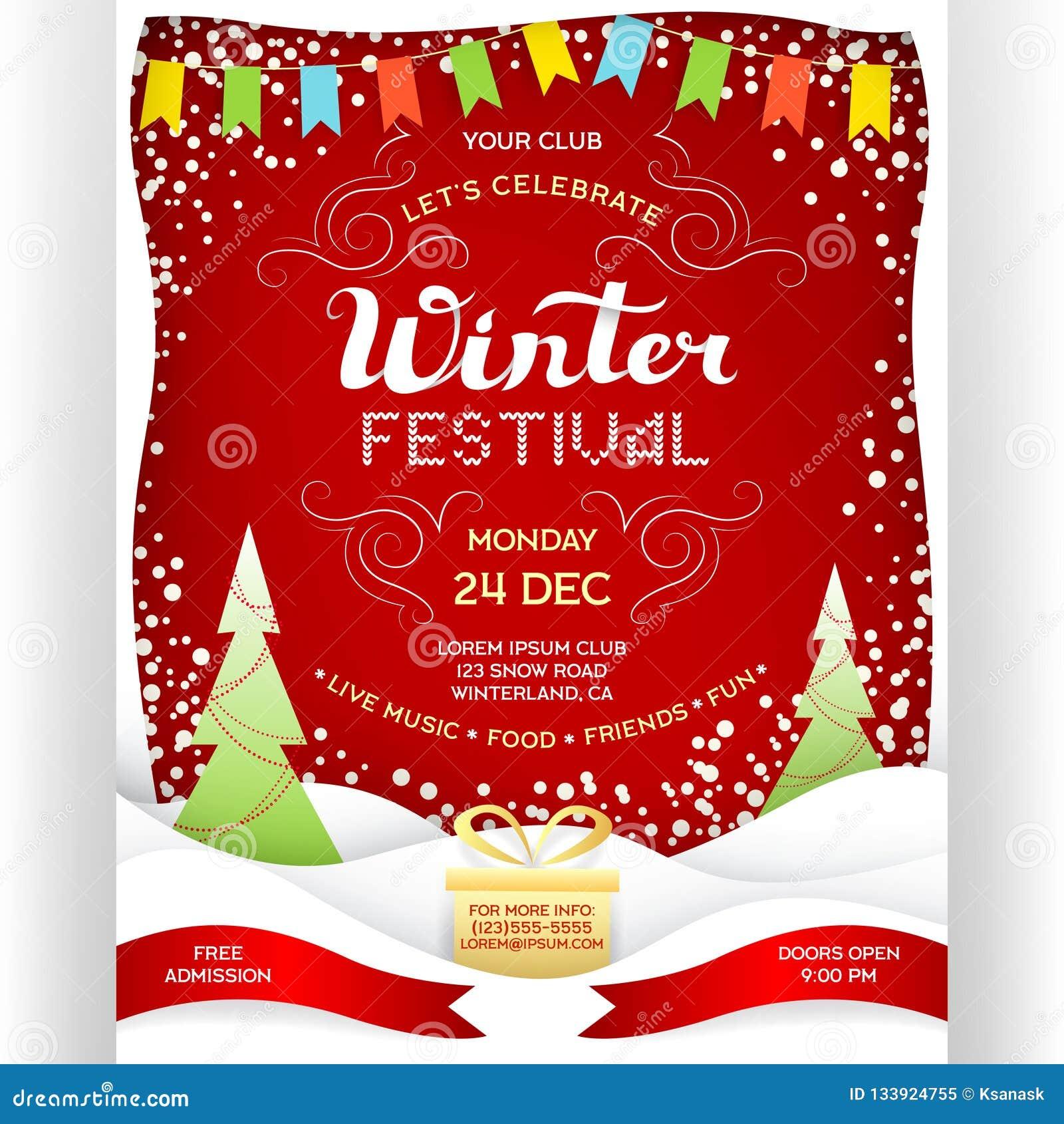 Poster For Winter Festival Stock Vector Illustration Of