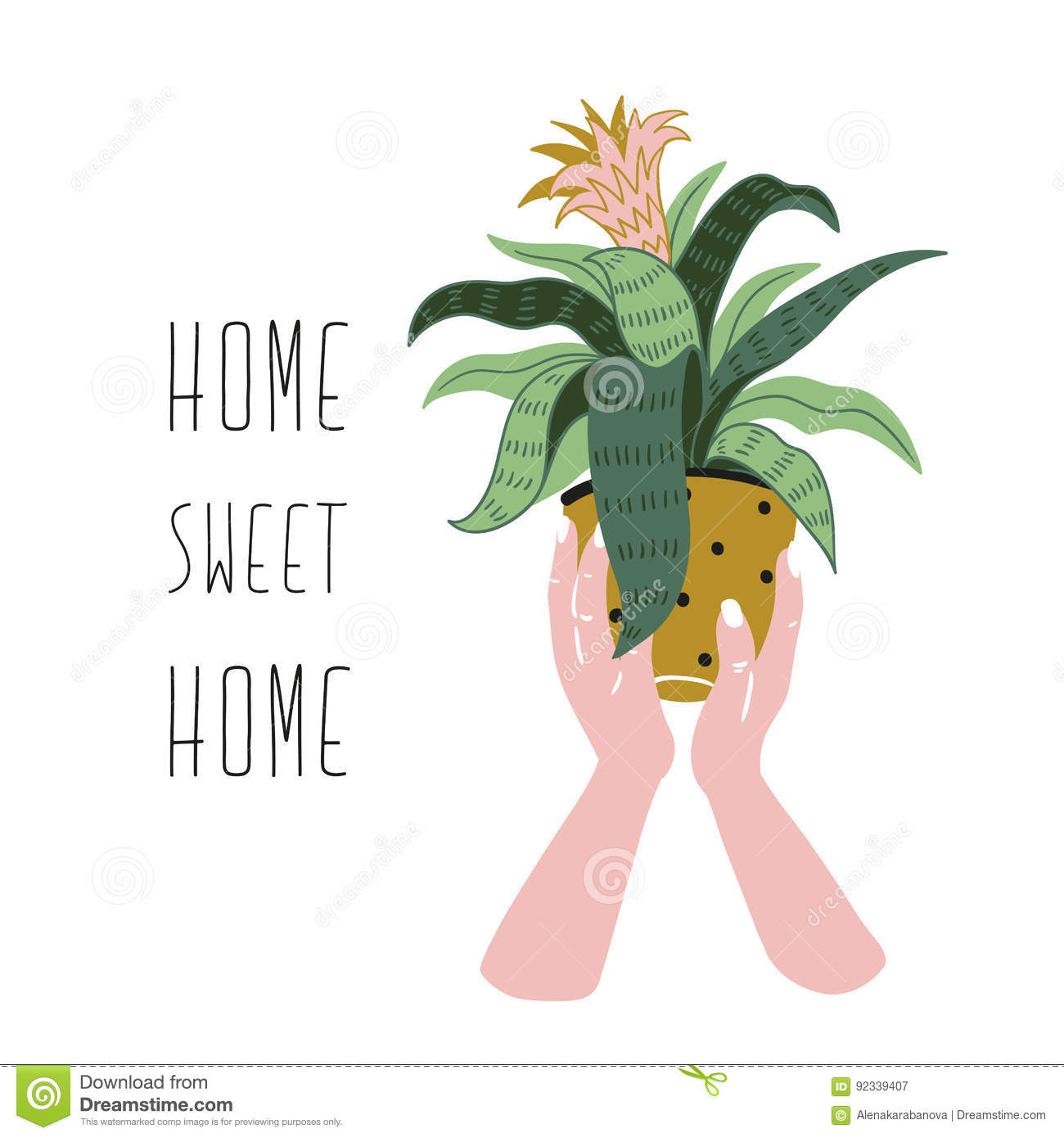 Poster with woman hands with home tropical plant and text - `Home sweet home`. Hand drawn vector illustration.