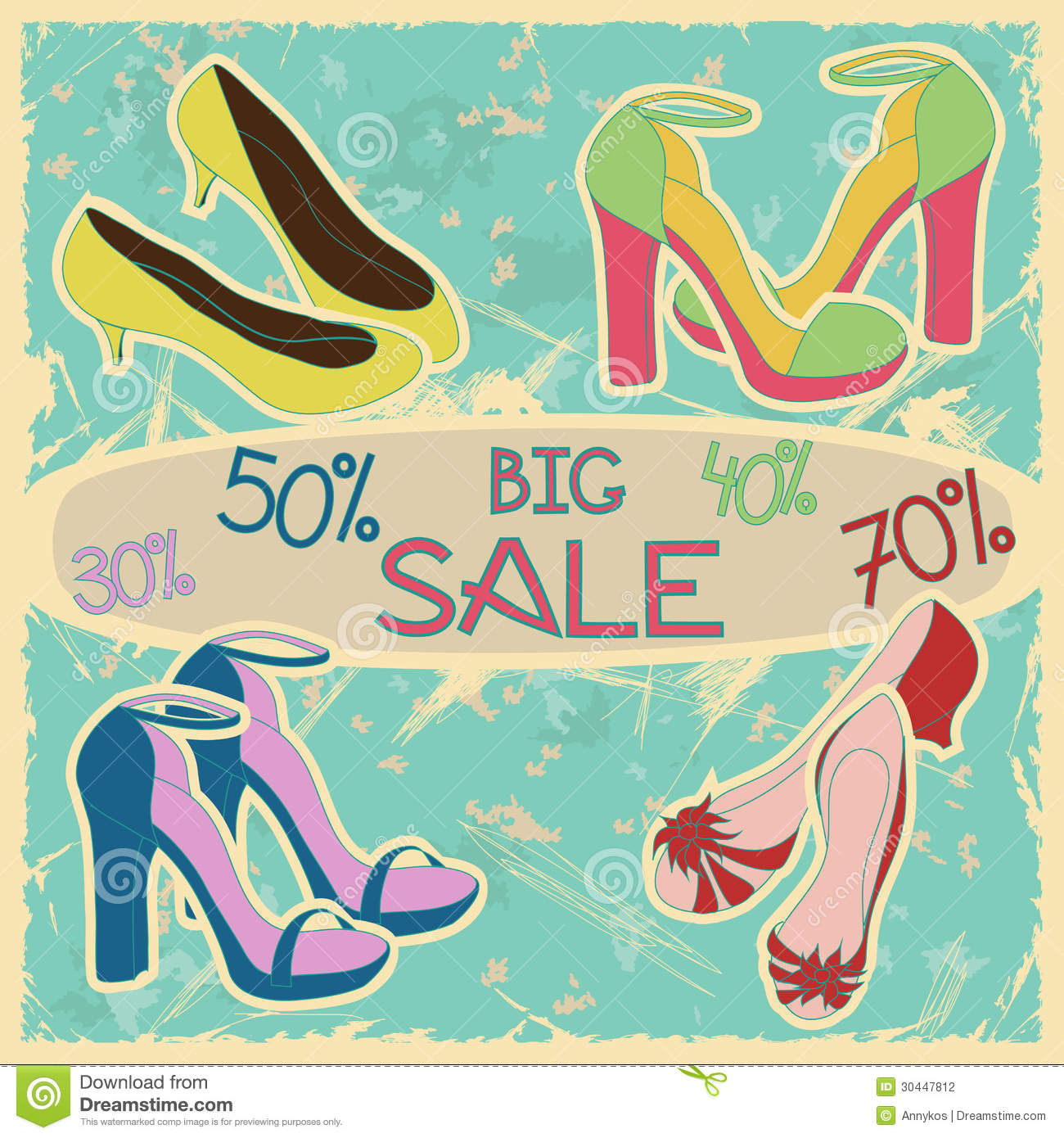 Poster Of Women Shoes On Sale Stock Photography - Image: 30447812