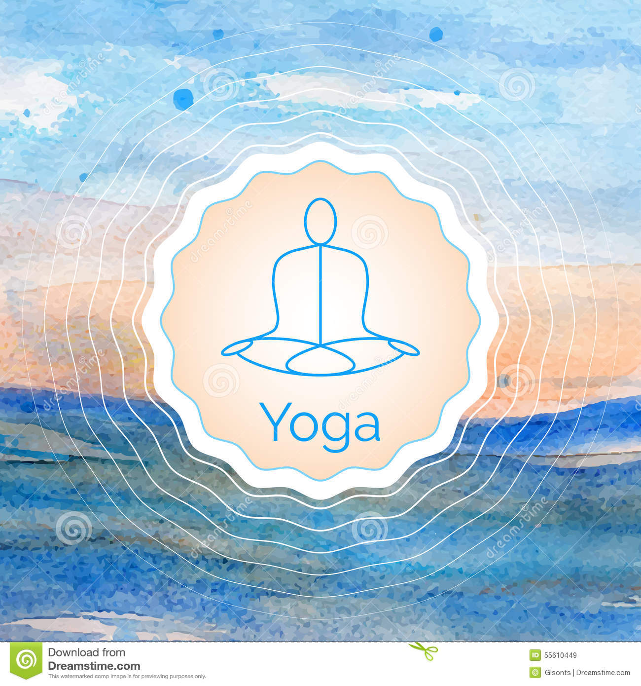 poster for yoga class with a watercolor landscape stock vector image 55610449. Black Bedroom Furniture Sets. Home Design Ideas