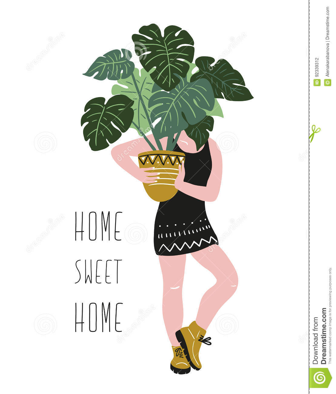 Poster with young woman cultivating home tropical plants and text - `Home sweet home`. Hand drawn vector illustration.
