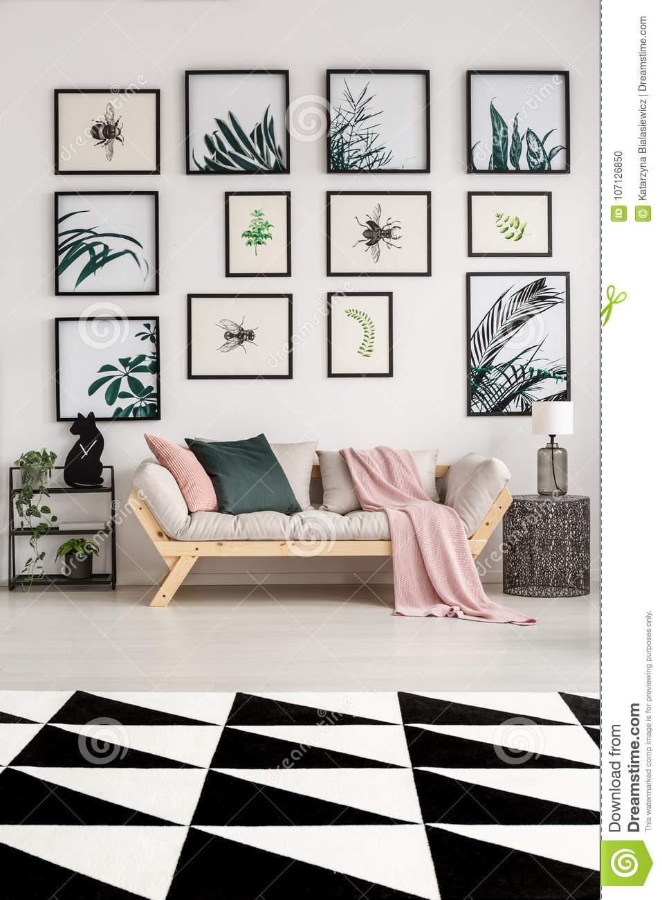 Modern Living Room With Posters Stock Photo - Image of industrial ...