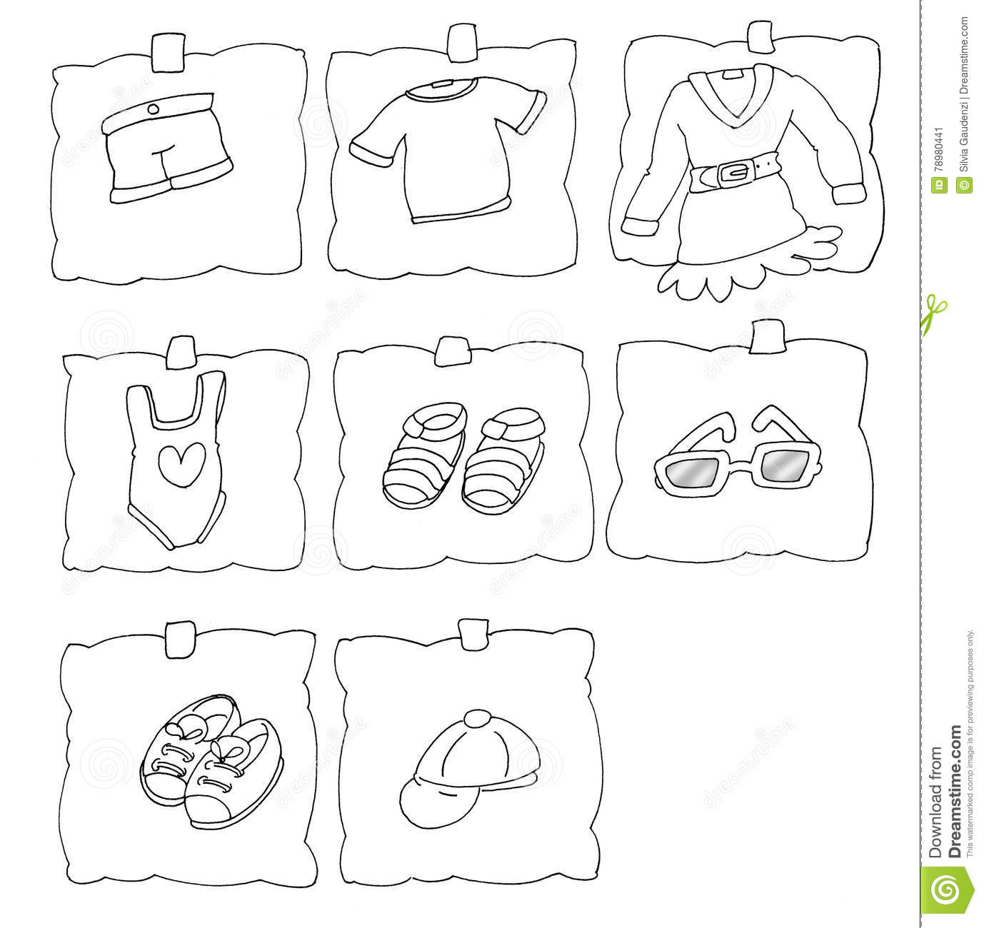 Royalty Free Illustration Download Postit With Summer Day Baby Clothes Chine Coloring