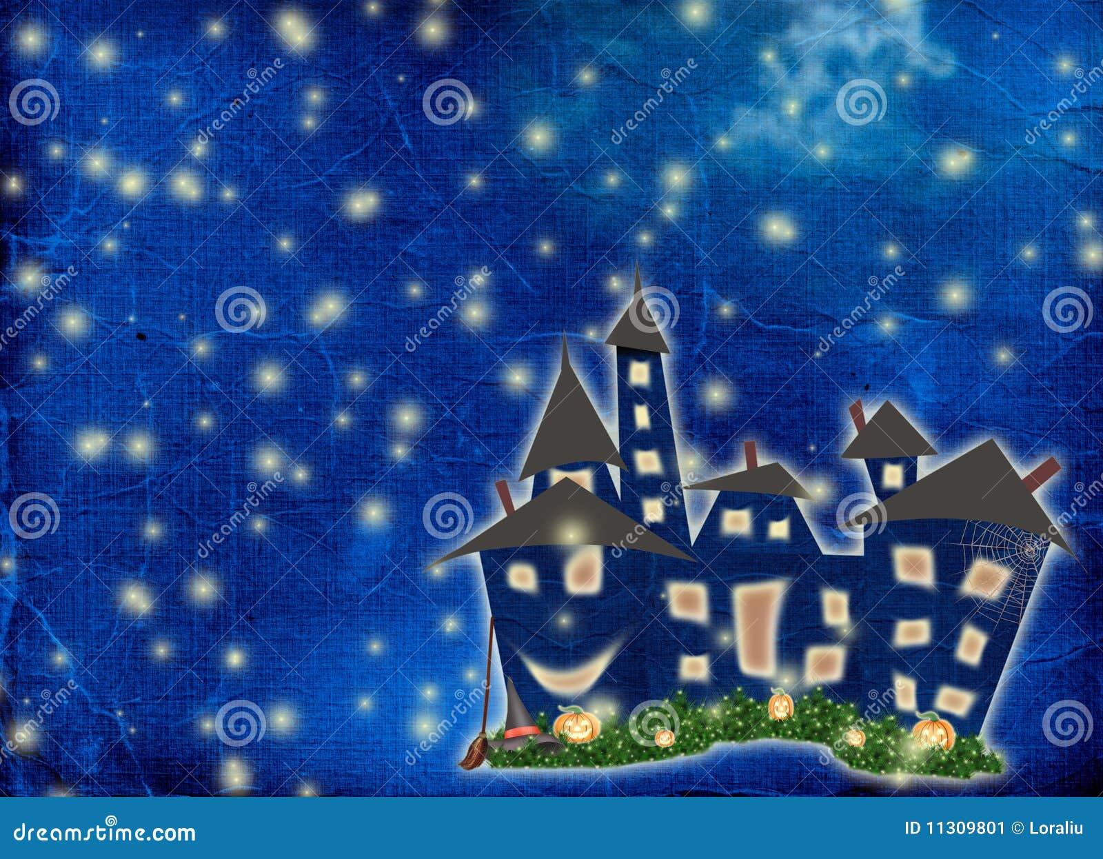 Postkartefeiertag mit Schloss und Kürbis