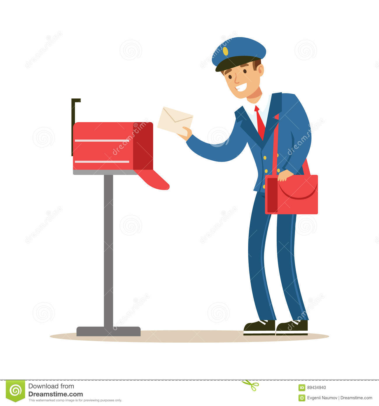 Postman In Blue Uniform Delivering Mail Putting Letters In Mailbox