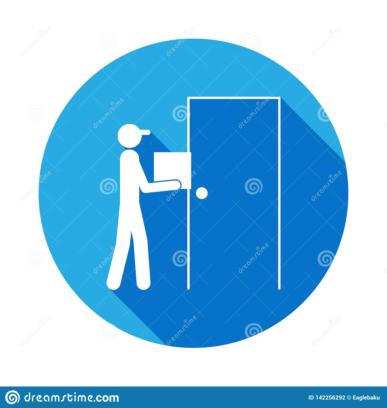The Postman At The Door Icon With Long Shadow  Element Of Logistics