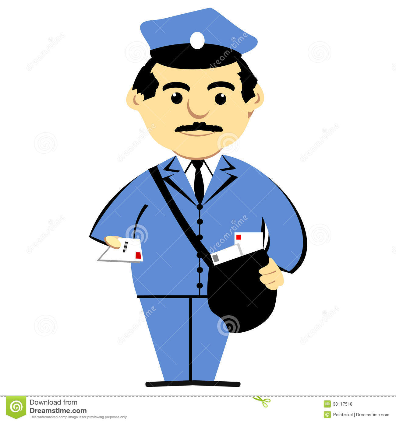 postman with mailbag stock vector  illustration of mailbag