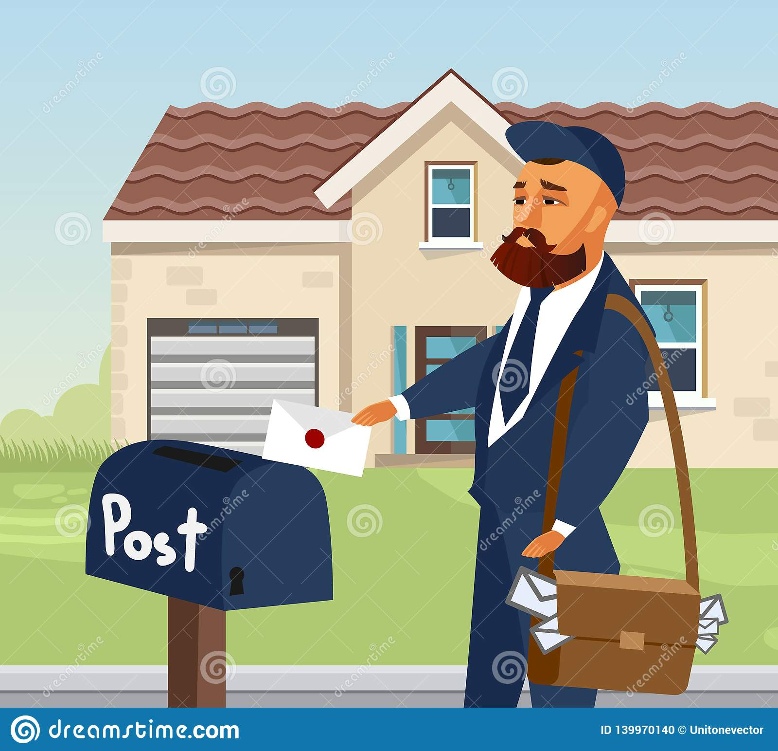 Postman in Professional Uniform Design Element