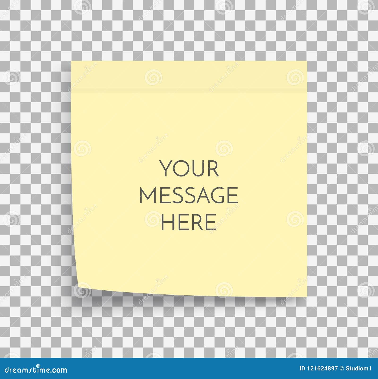 Postnotadocument blad Kleverige sticker Het vectormalplaatje van het bureaumemorandum Lege gele vierkante zelfklevende stickerspo