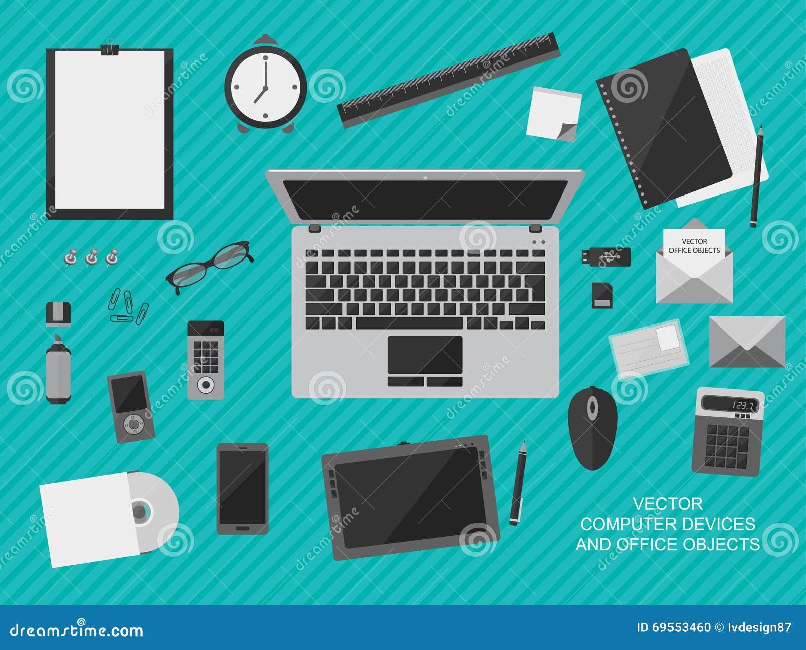 Posto di lavoro con i dispositivi del computer gli for Oggetti da ufficio