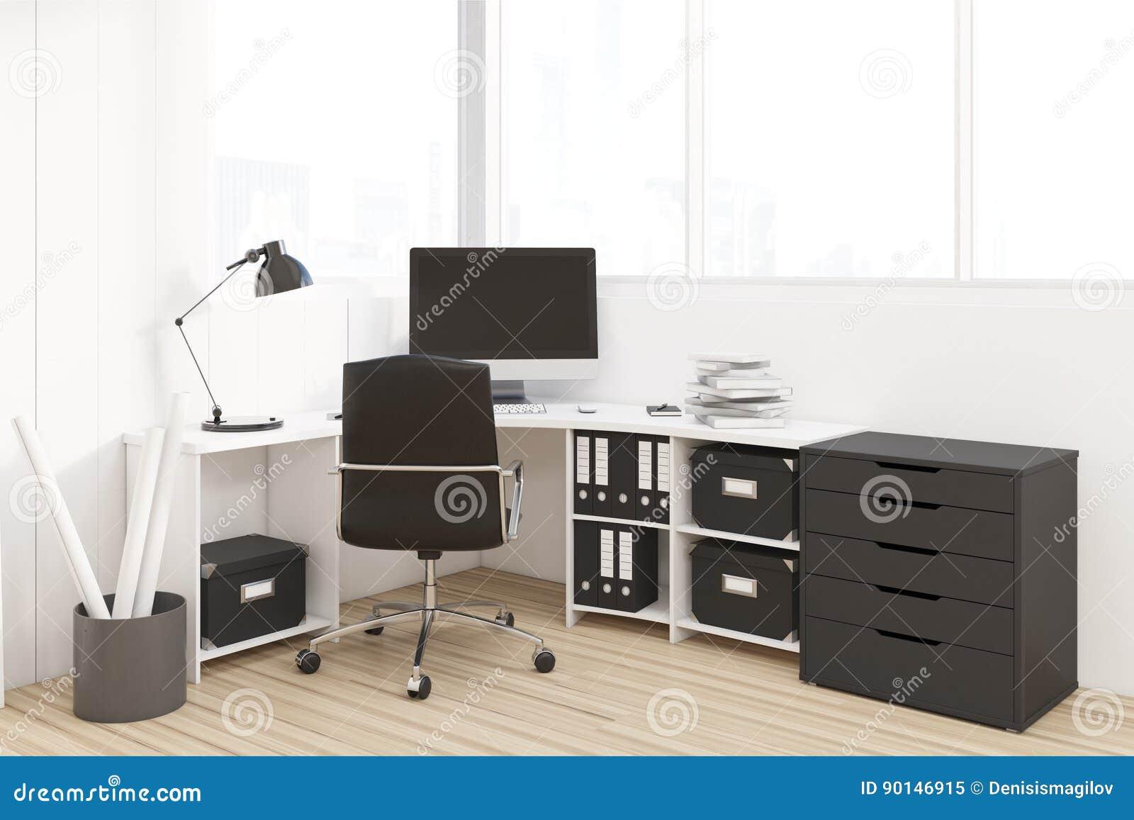 Ufficio Del Lavoro In Nero : Posto di lavoro con il gabinetto nero illustrazione di stock