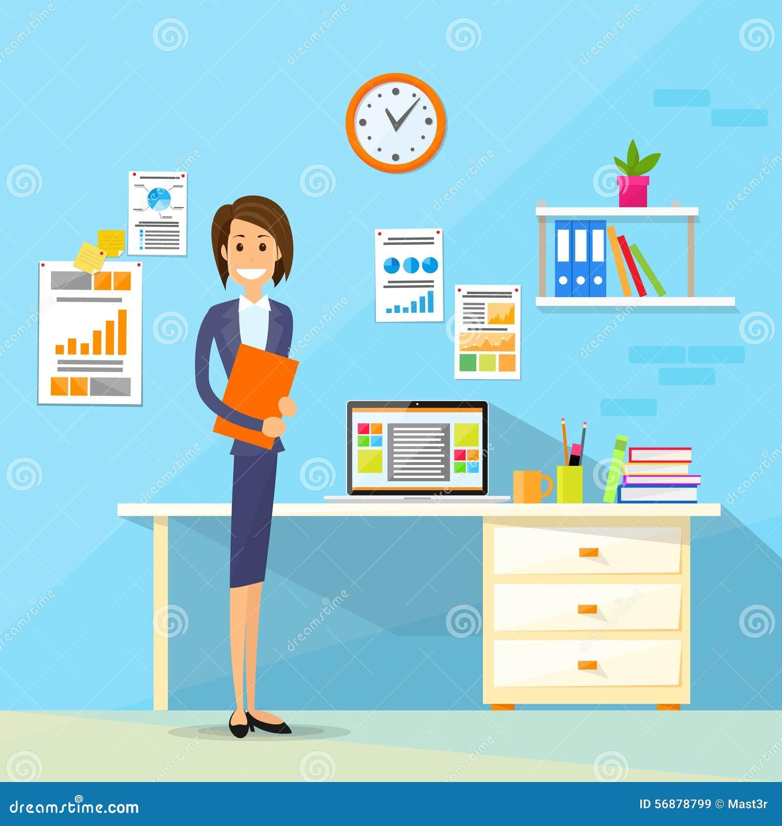 Posto di lavoro dell ufficio dello scrittorio della donna di affari piano