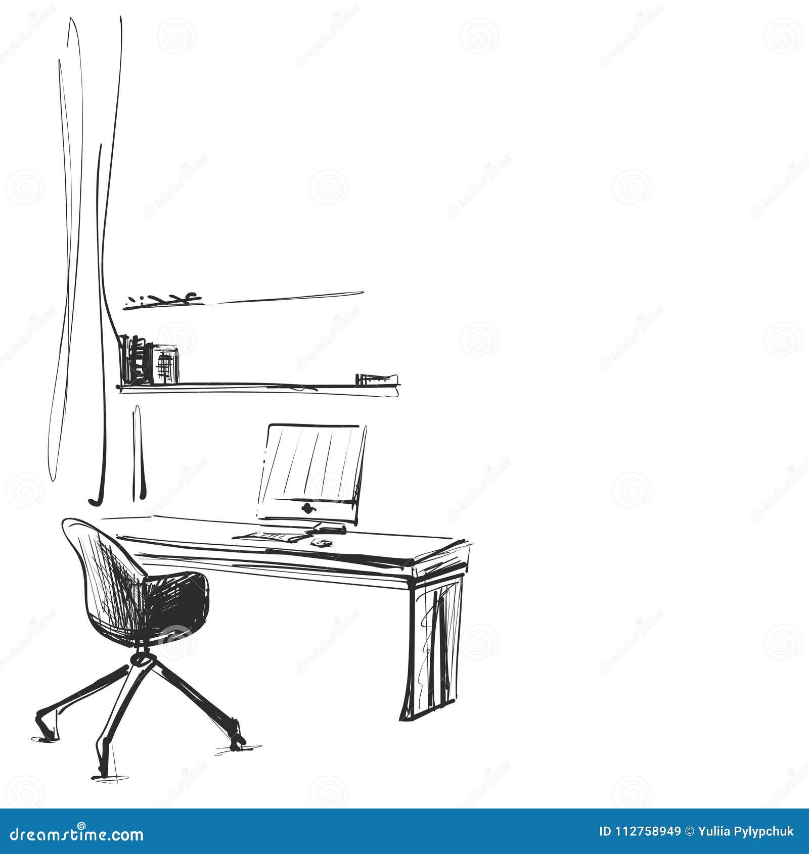 Posto di lavoro disegnato a mano Schizzo del computer e della sedia