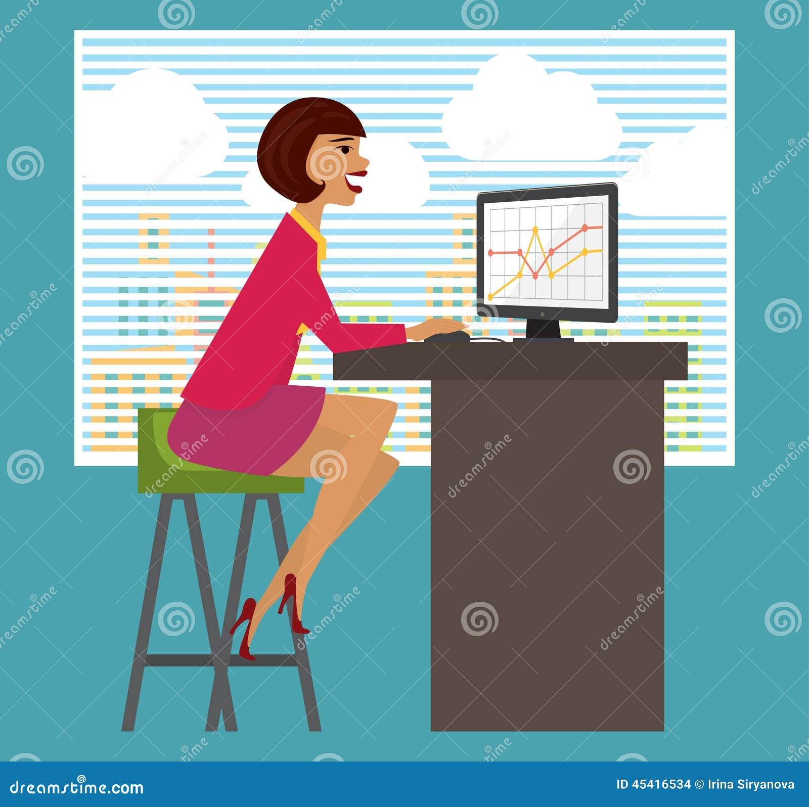 Piano Di Lavoro Scrivania : Posto di lavoro scrivania donna affari che lavora a