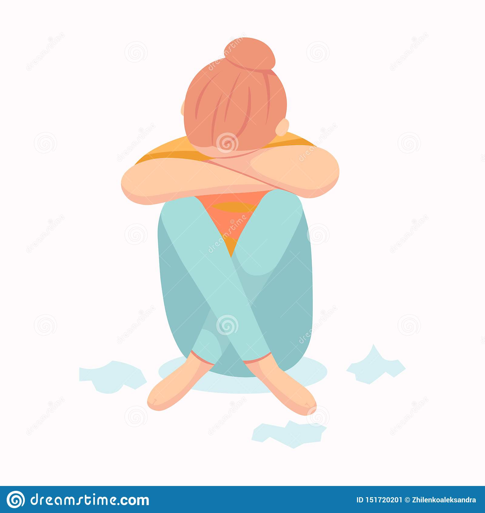 Postpartum Depression Postnatal Depression Baby S Blues Cartoon Vector Hand Drawn Eps 10 Illustration Isolated On Stock Vector Illustration Of Feelings Crying 151720201