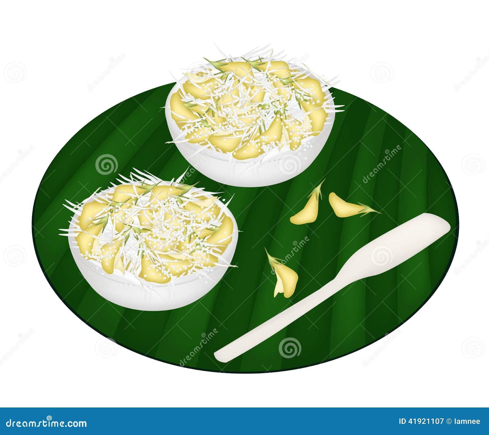 Postre delicioso de Sesbania Javanica con el coco destrozado