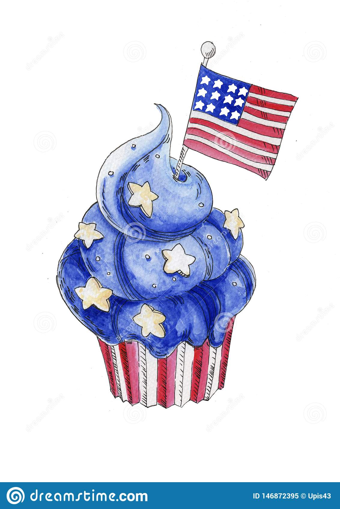 Postre patriótico azul de la acuarela pintada a mano