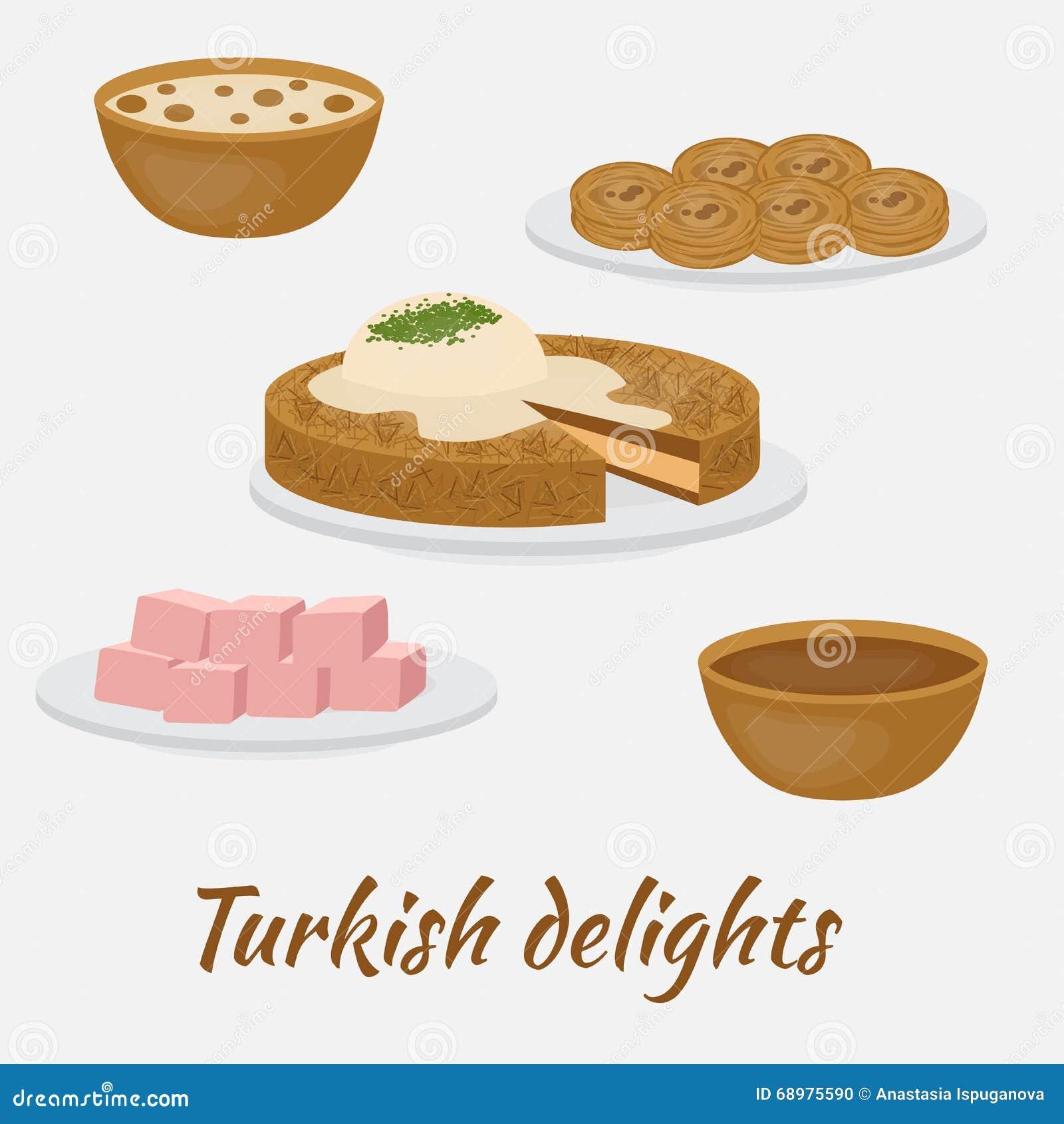 Postres comunes Placeres turcos Comida tradicional de la cocina turca