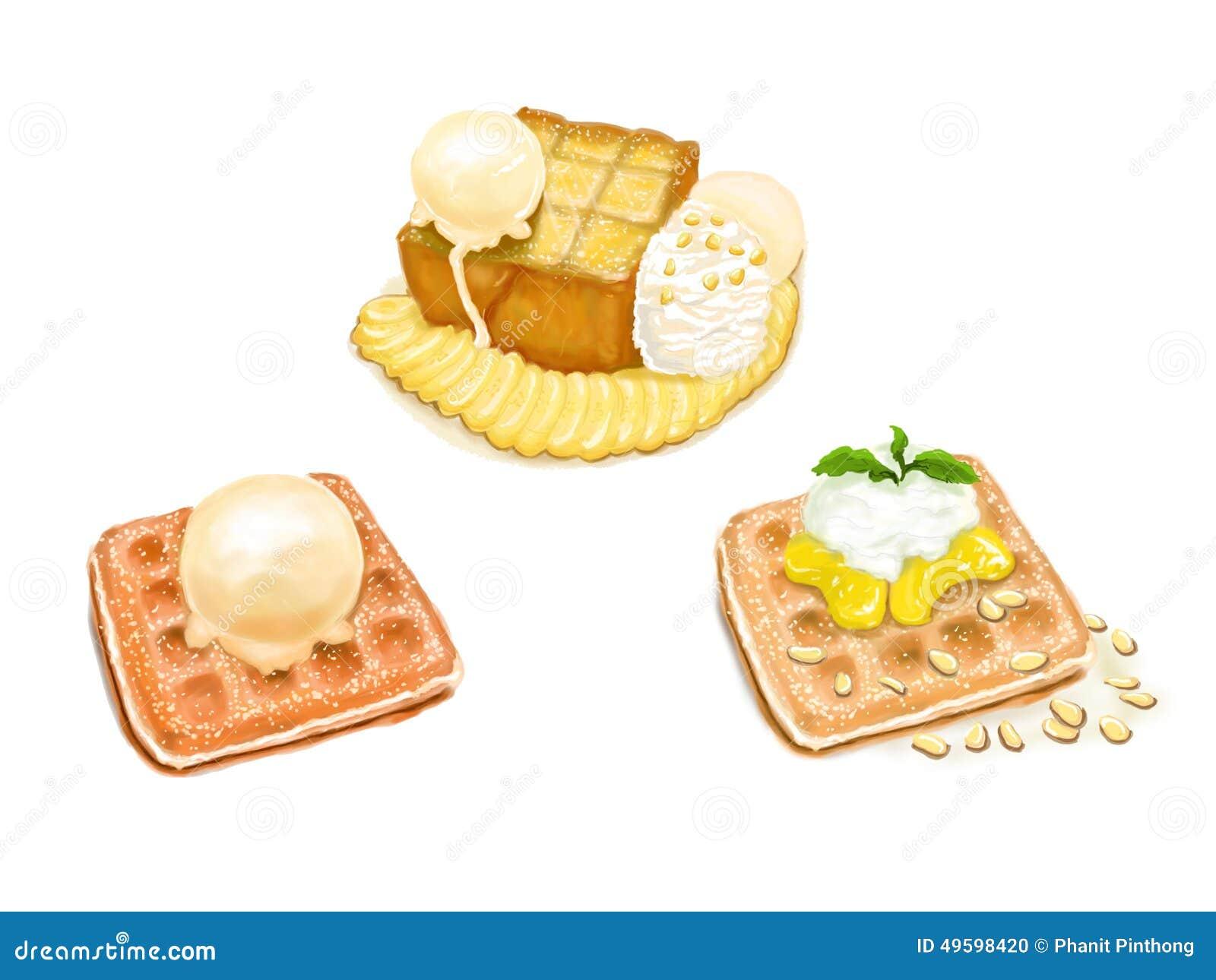 3 postres: helado y tostada de la galleta