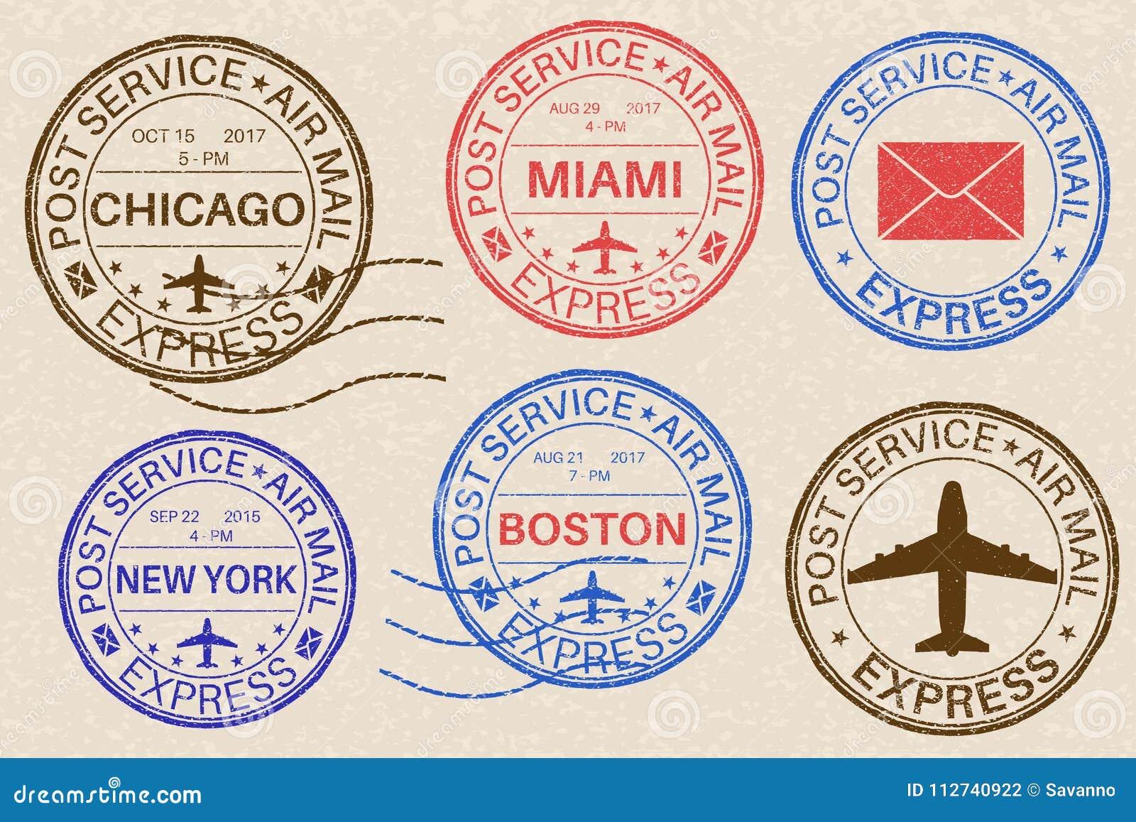 Poststempel Sammlung Tintenstempel auf beige Hintergrund