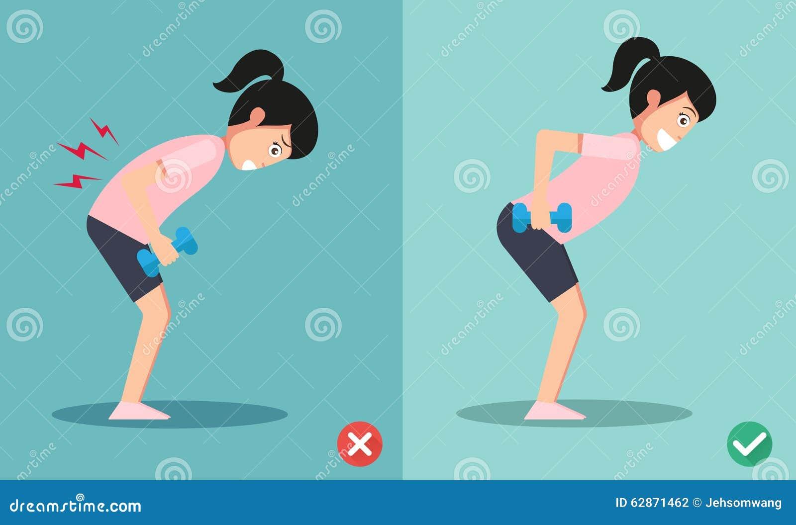 Postura de levantamento errada e direita do peso
