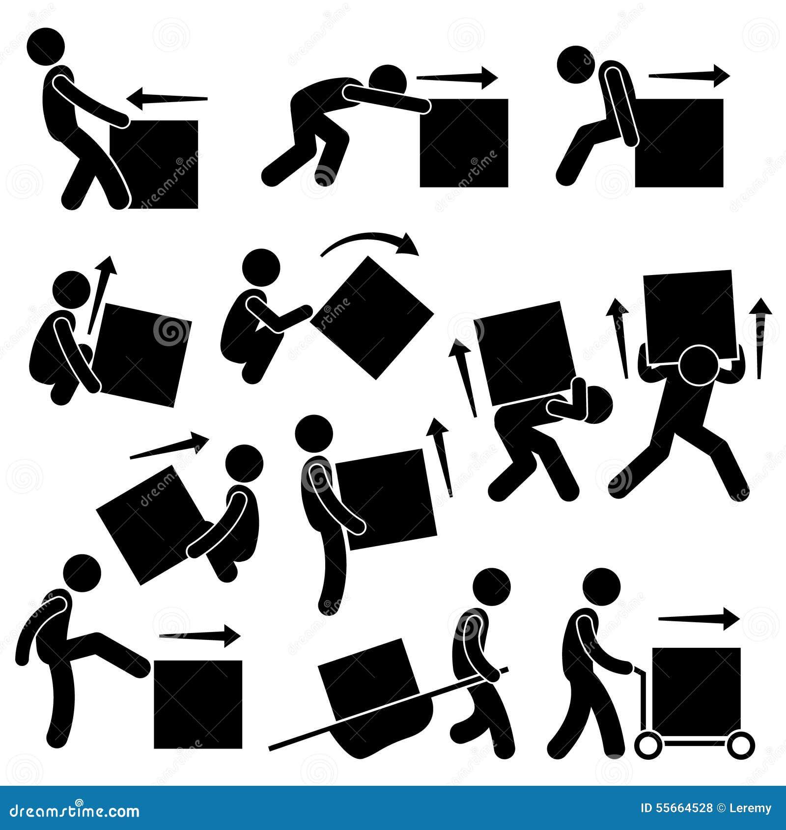 Posturas móviles Clipart de las acciones de la caja del hombre