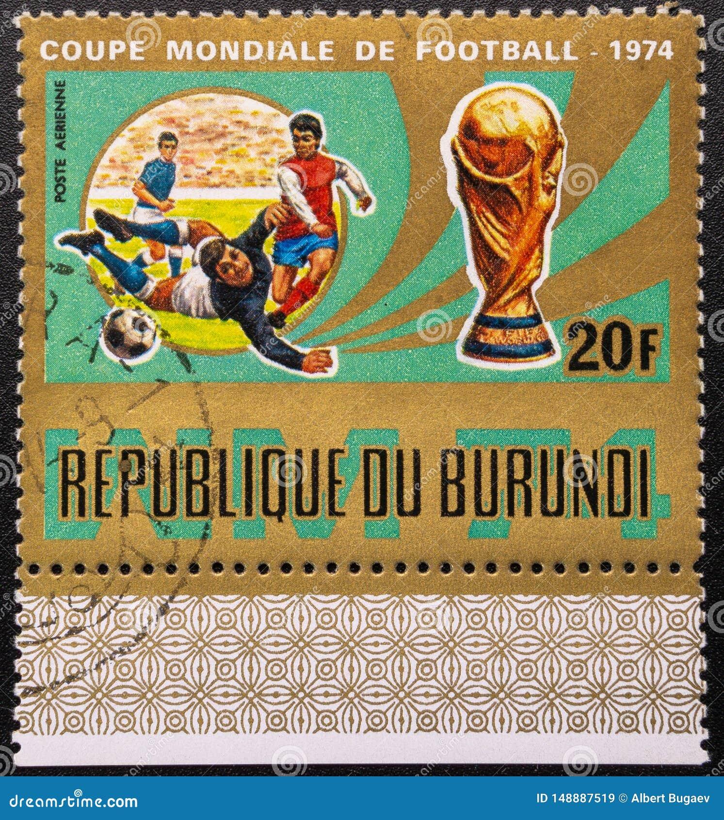 Postzegel 1974 De kop van de wereld Voetbal De Republiek Burundi