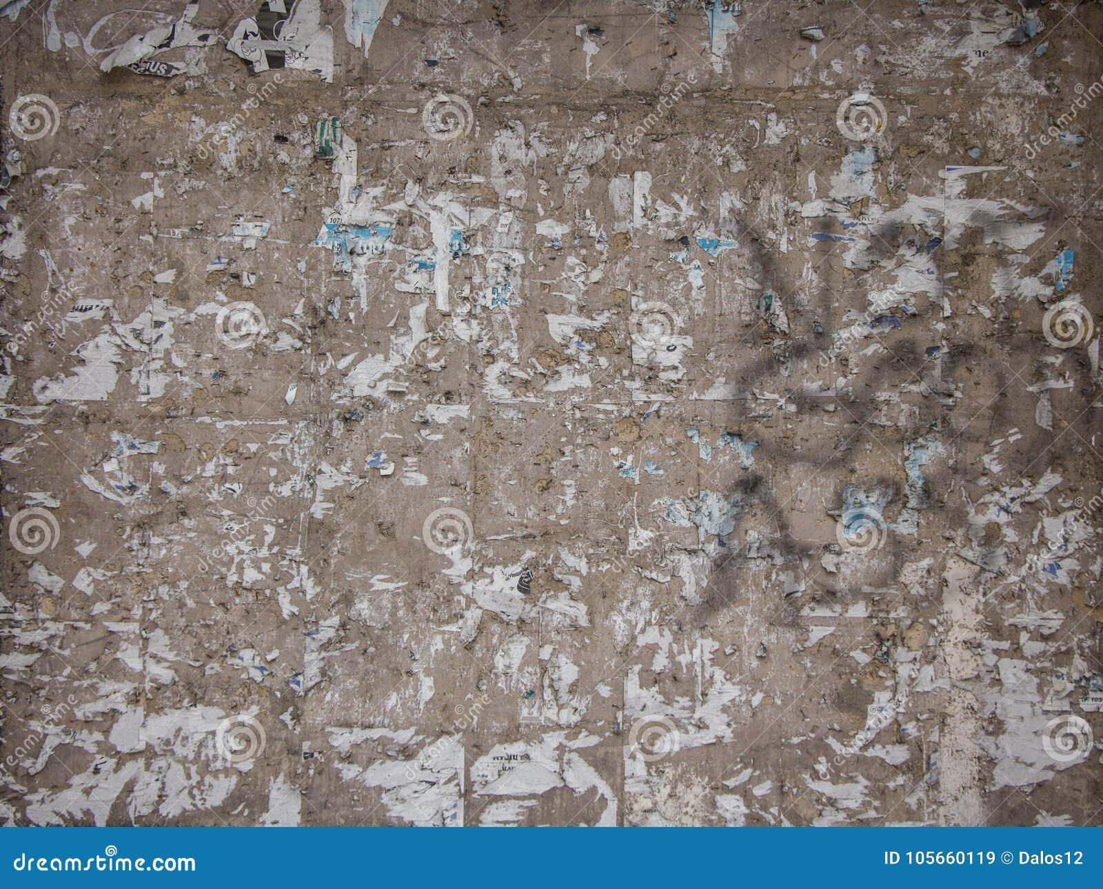 Poszarpana Plakat ściana Może Używać Jako Tło Obraz Stock