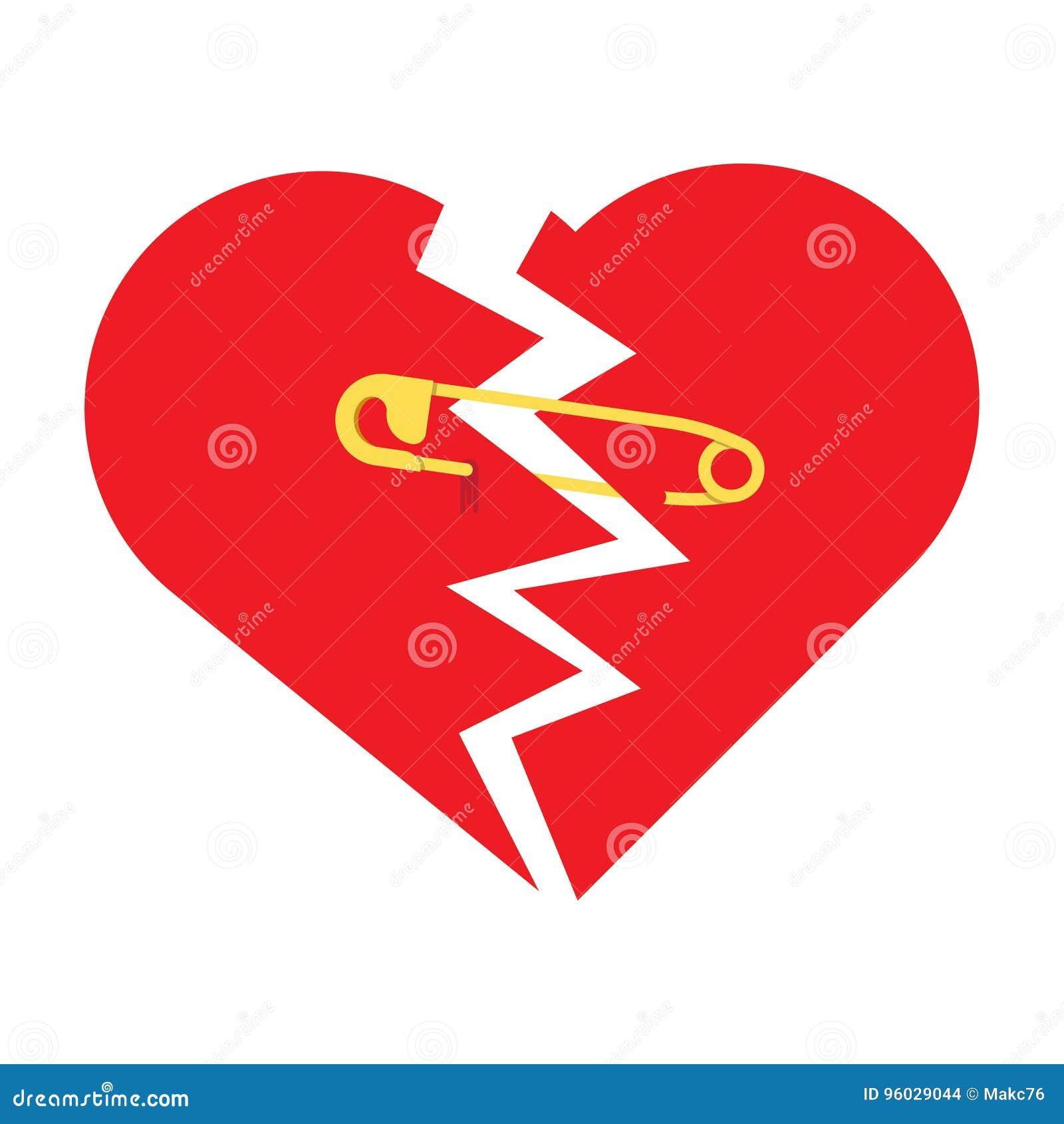 Poszarpany serce z zbawczą szpilką