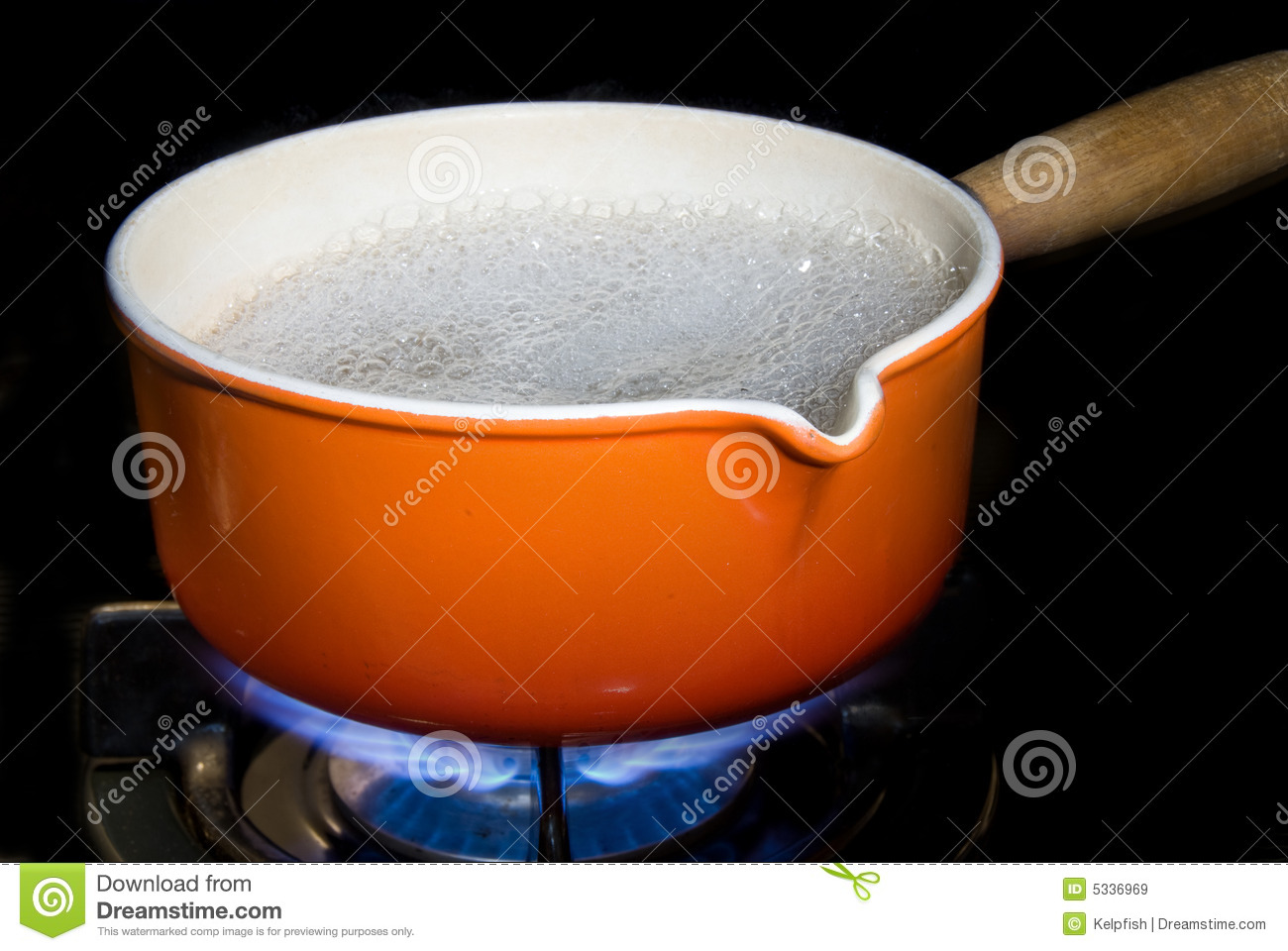 pot of boiling water on a modern gas range stove. Perfect for any ...