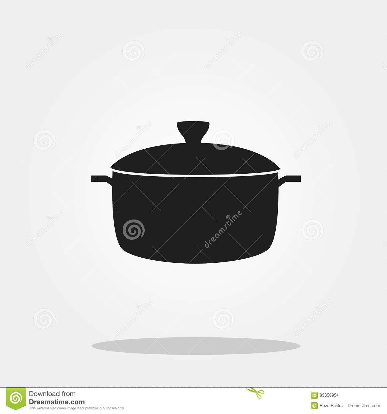 Pot Cute Icon In Trendy Flat Style Isolated On Color Background. Kitchenware  Symbol For Your