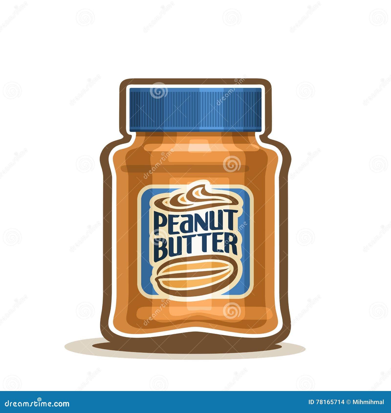 Pot de beurre d arachide de logo de vecteur avec le label