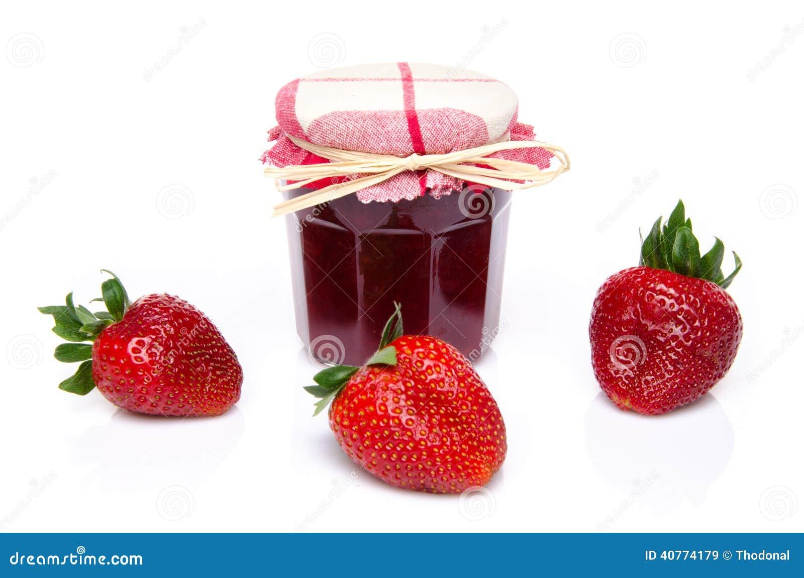 pot de confiture de fraise avec les fraises fra ches photo stock image 40774179. Black Bedroom Furniture Sets. Home Design Ideas