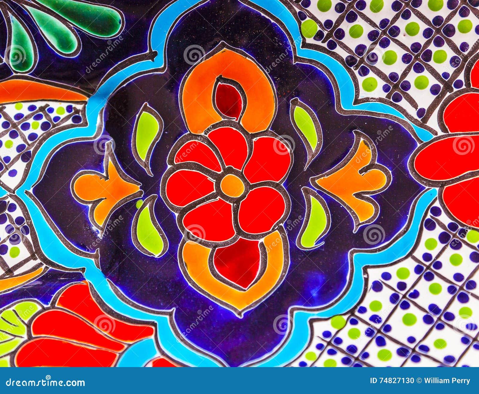 Pot De Fleurs Bleu Rouge En Ceramique Colore Dolores Hidalgo Mexico