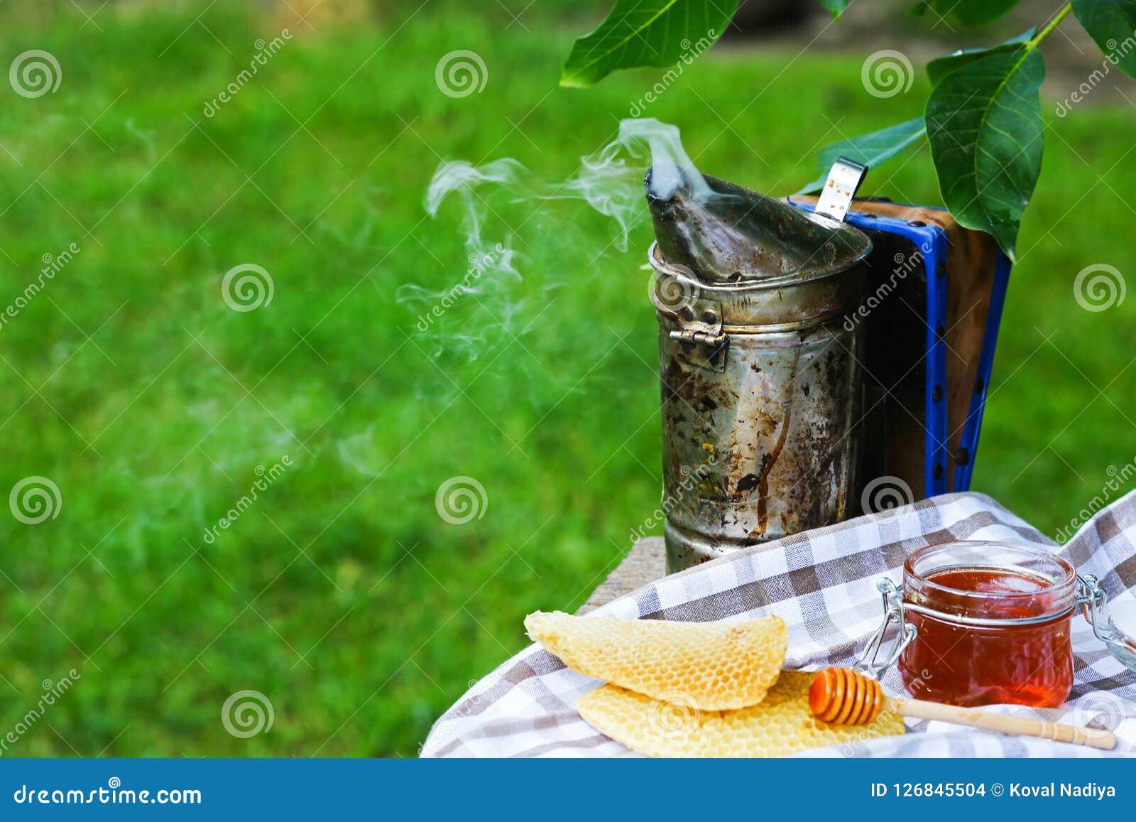 Pot de miel avec du miel d égoutture du plongeur apiculteur de cheminée outdoors Concept de l apiculture Image authentique de mod