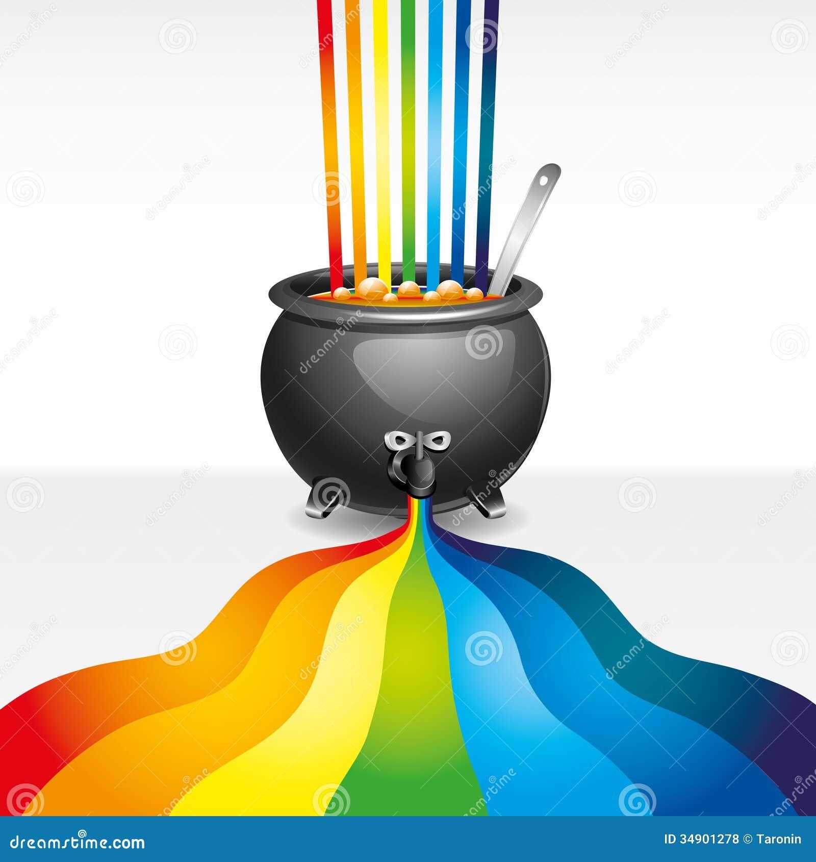Pot de peinture et d 39 arc en ciel illustration de vecteur illustration du contexte clip 34901278 - Pot de peinture prix ...