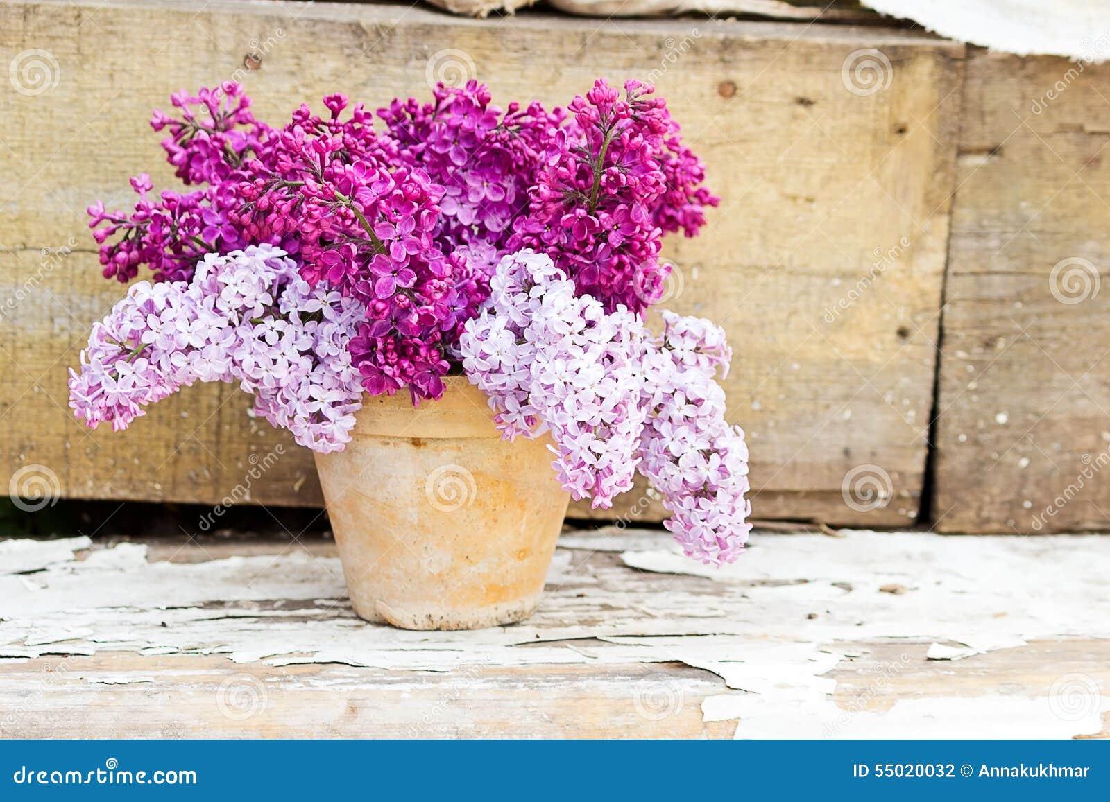 Pot en c ramique avec une branche de fleur lilas sur le for Achat branche bois