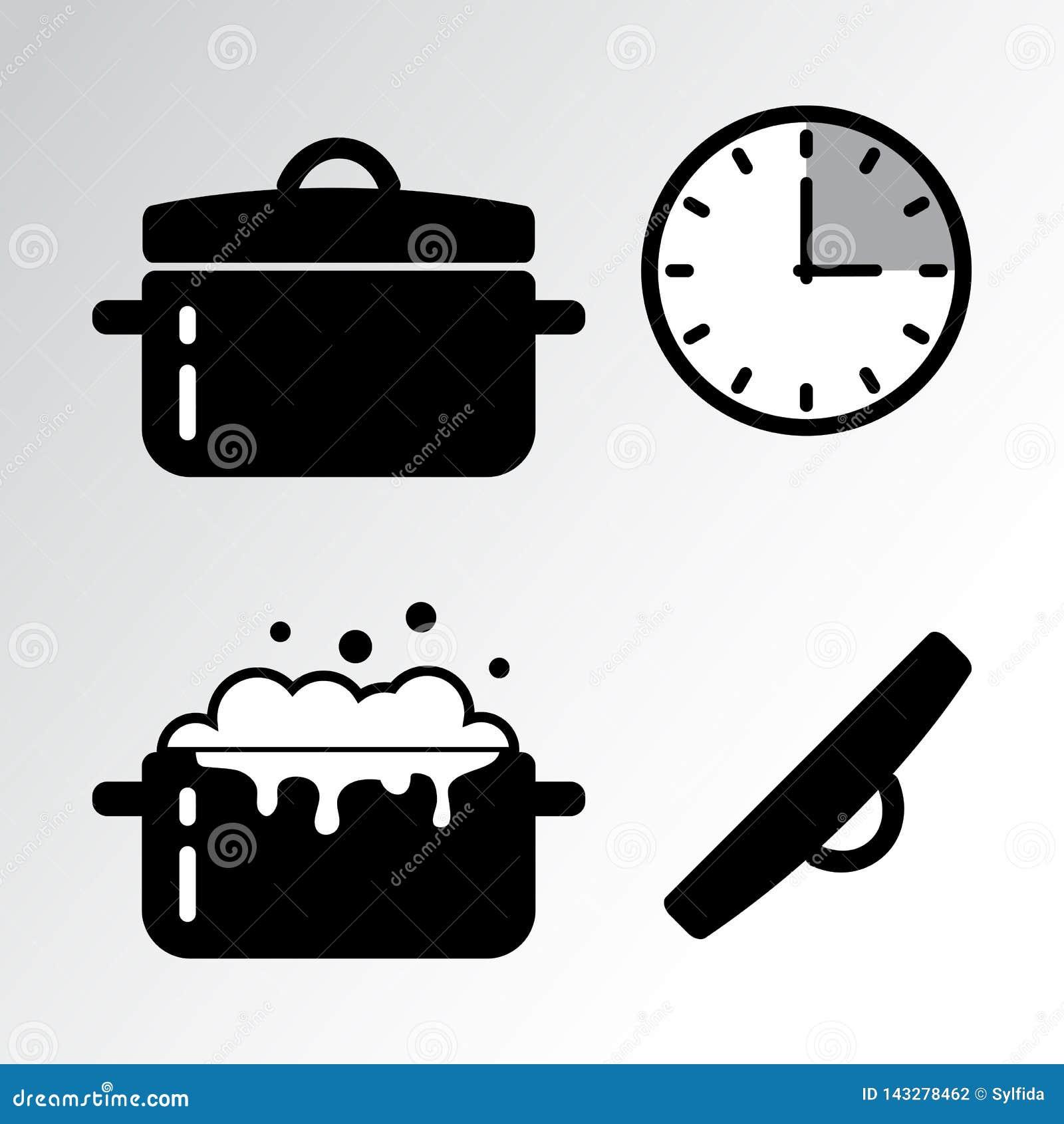 Pot et cuisson de l icône de minuterie Vecteur