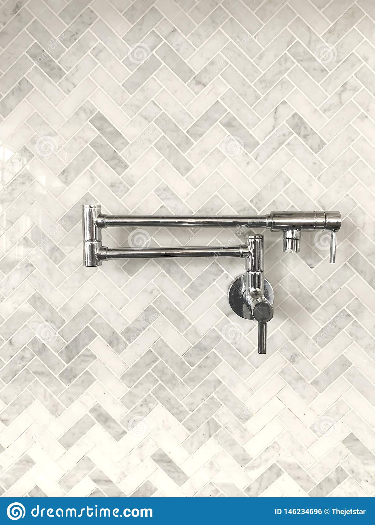 Pot Filler Marble Herringbone Backsplash Modern Kitchen Stock Photo Image Of Gourmet Texture 146234696