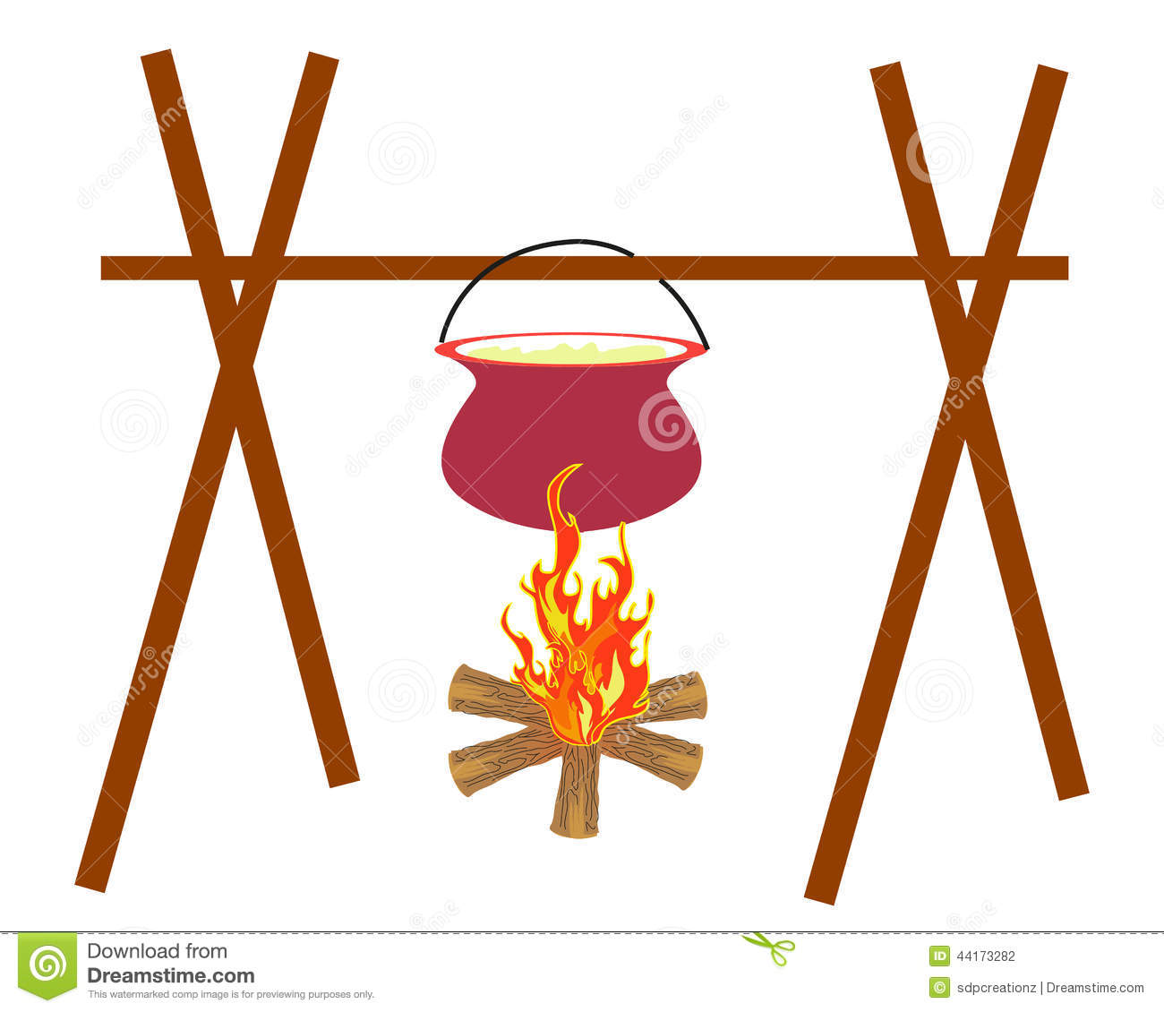 Download Campfire Cooking Stock Vector Illustration Of Outdoor