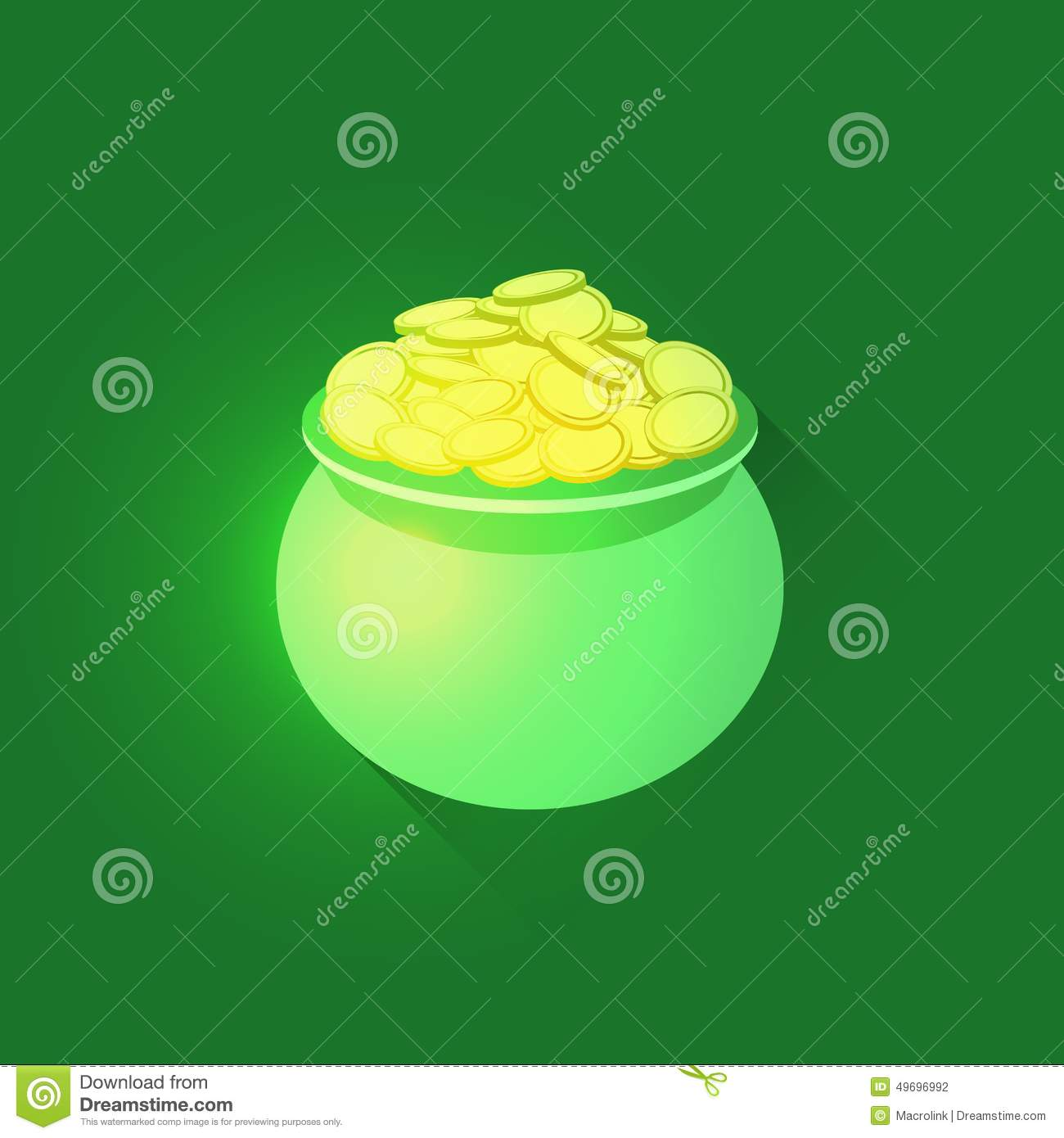 Download Pot full of gold coins stock vector. Illustration of clipart - 49696992