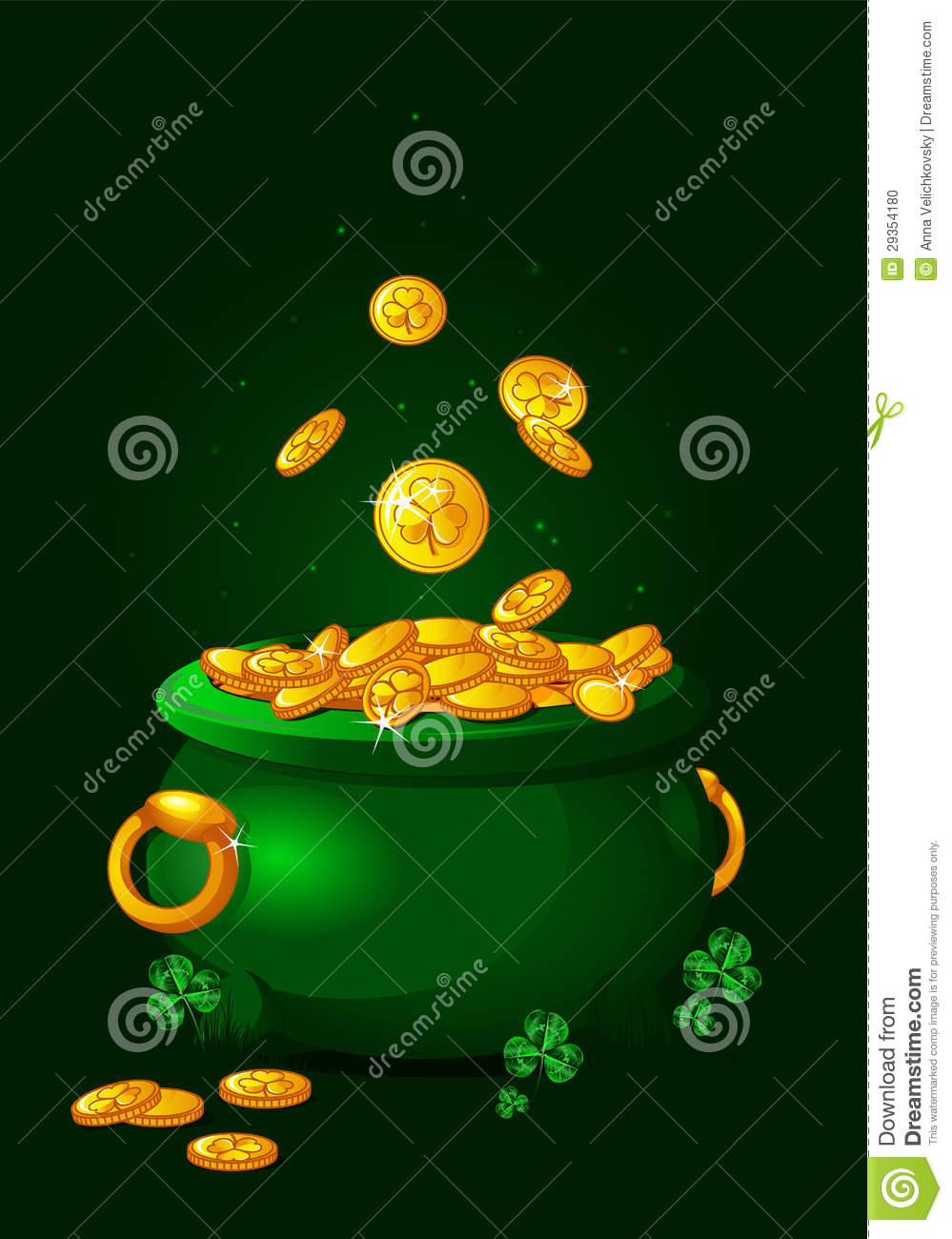 Pot of gold background stock vector. Image of illustration ...