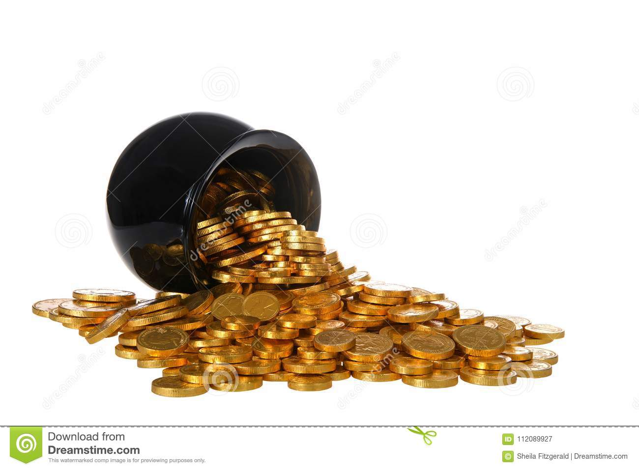Pot of gold coins spilling over onto white background isolated