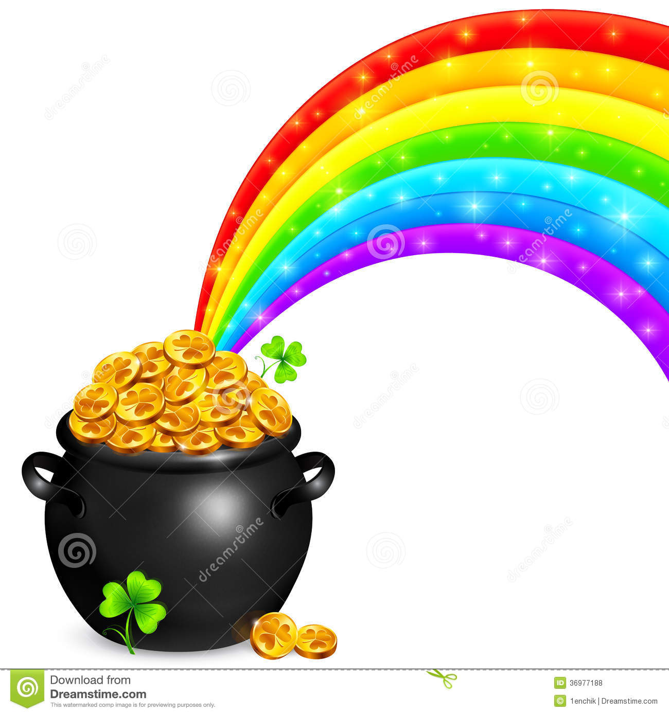 Pot Of Gold With Magic Rainbow Royalty Free Stock Photos - Image ...