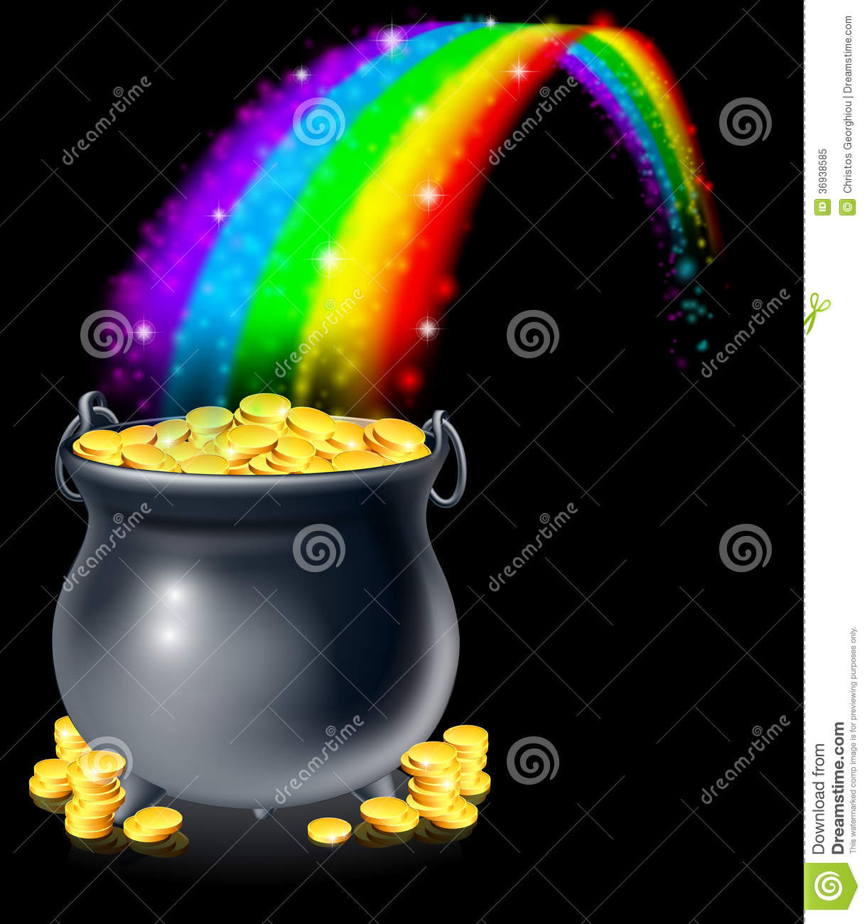 or a pot full of gold coins at the end of the rainbow. Pot of gold ...